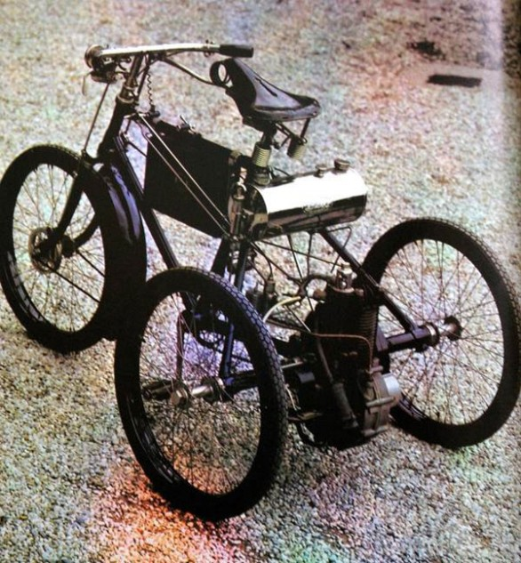 Packaging an early internal-combustion engine into a bicycle chassis was problematic, so several 19th-century builders used a three-wheel format. Shown here is an 1899 DeDion Tricycle.