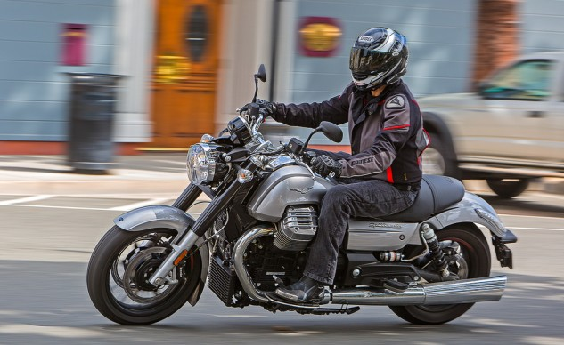 """""""The California Custom was the surprise of this shootout for me. It packs in some neat features that aren't necessarily standard cruiser fare, such as three riding modes, cruise control and ABS. Overall, its smooth performance matches its persona."""" – Scott Rousseau"""