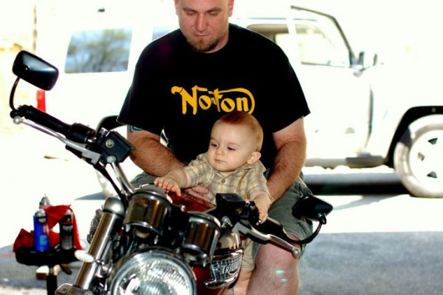There will always be go for it kids, they come from go for it parents, I know this one, he's really going need a bike, and maybe a good set of leathers. Photo by Michael Andrews.