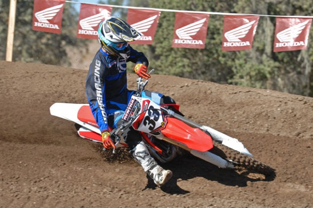 The CRF450R turns like a demon and tracks well in a straight line. Our one minor complaint is that its front wheel gets a little nervous when encountering ridges in flat corners. Overall, however, it steers well in berms and rutted corners.