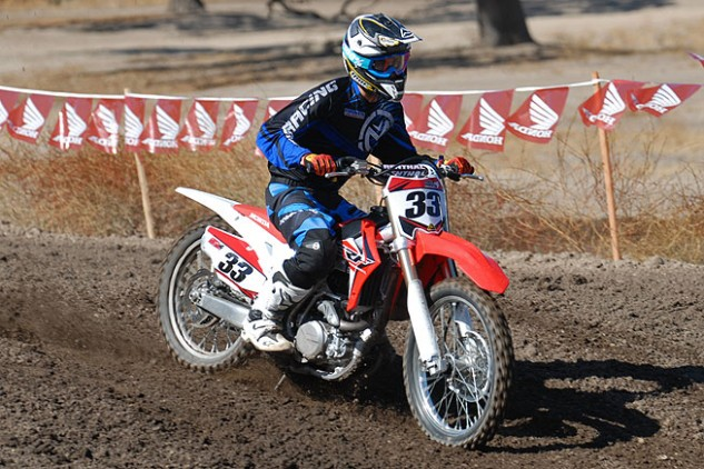 The CRF450R's suspension is extremely forgiving. Suspension stroke is smooth and controlled at both ends, with excellent bottoming resistance, which only aids rider confidence.