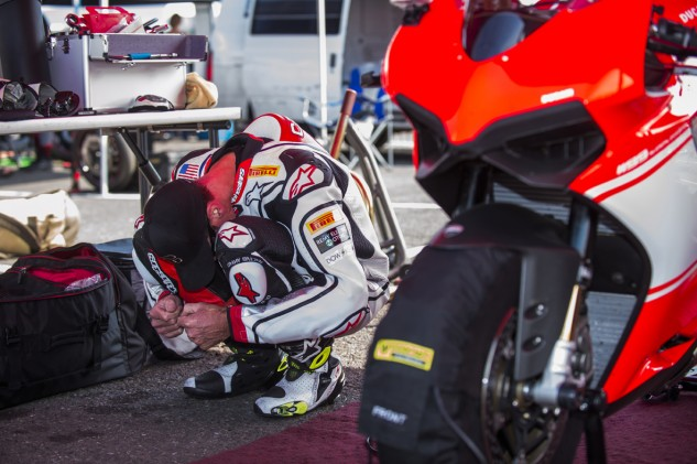 Like many riders, Czysz goes through his pre-ride rituals before heading out on track. Mentally, his spirits are trending downward, but being back on the bike helps lift him up.
