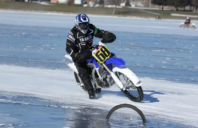 Being the de-facto weird-bike editor has its perks. Getting to ride a Yamaha YZ450 with metal spikes in its tires on a frozen lakebed is definitely one of them.