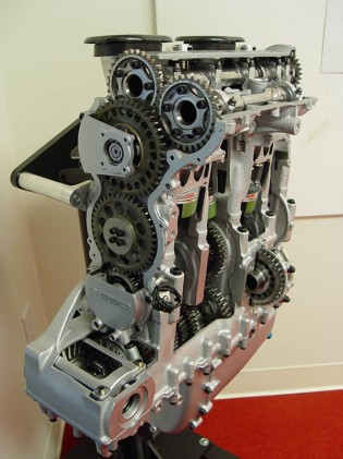 This view gives a slightly better view of the engine architecture of the C1. Look toward the middle to get an idea where the two crankshafts are separated from one another.