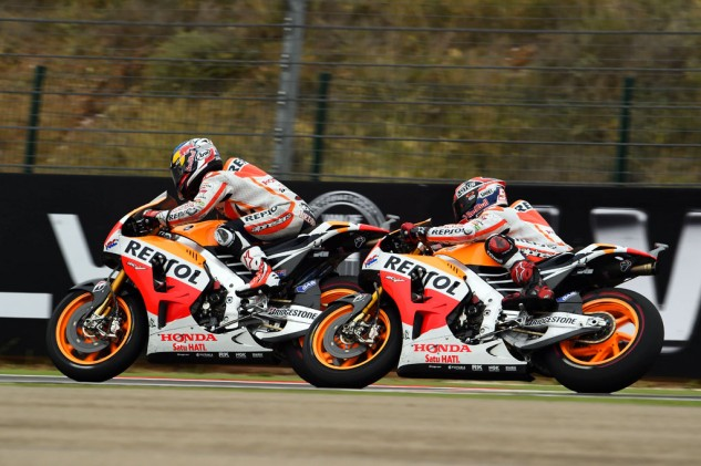 Dani Pedrosa still has a mathematical chance of catching him but the championship is Marc Marquez's to lose.