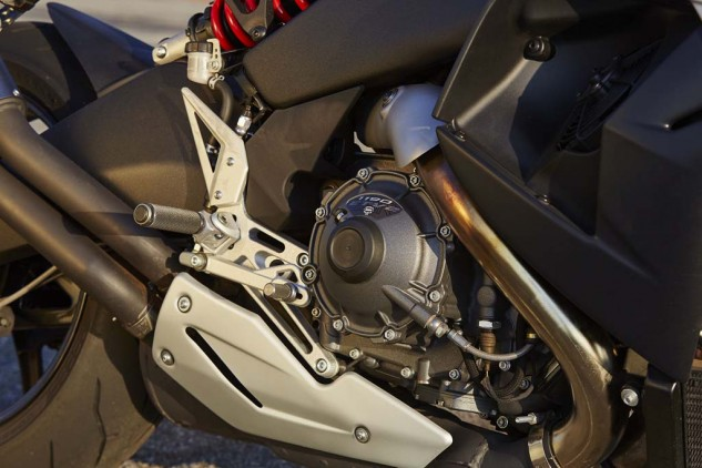 The 1190cc V-Twin powering the EBR is an impressive engine considering the company's infancy. Fuel injection could use some refinement, but EBR is said to have EFI software updates coming in 2015. Note also the adjustable rear brake lever.