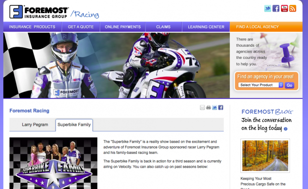 Sponsoring a reality TV show about a privateer superbike racer is a unique approach to marketing your brand.
