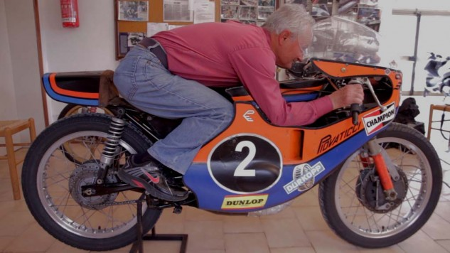 Eugenio Lazzarini won three world championships including the 125cc title in 1978 on a Morbidelli Benelli Armi bike.