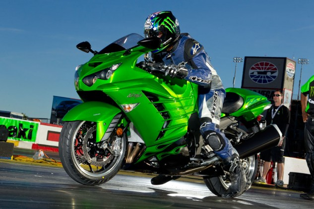 We ran a 9.69-second ET on a bone-stock Kawasaki ZX-14R during a 100-degree day at the strip. Corrected for weather conditions, it translated to a 9.35-second run.