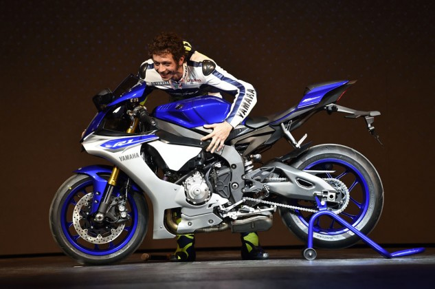 Valentino Rossi and Jorge Lorenzo took time out of their busy schedules to take part in Yamaha's 2015 R1 launch at EICMA.