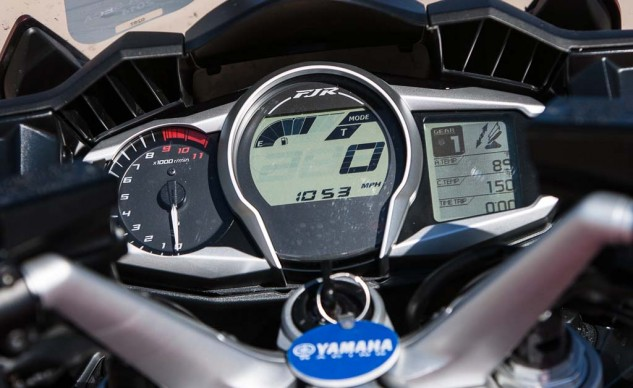 I like the FJR instrumentation best. Evans does not. The bars are 3-position adjustable, the seat goes up and down. But the target keeps moving ...