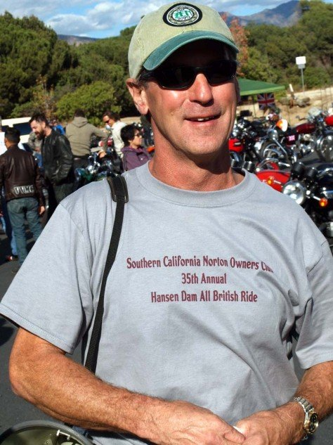 "SCNOC Prez Kevin Nerden carries the famous bullhorn synonymous with late, great past president Bill ""Bib"" Bibbiani.  This year's rally shirt is available from the club's website: www.socalnorton.com"