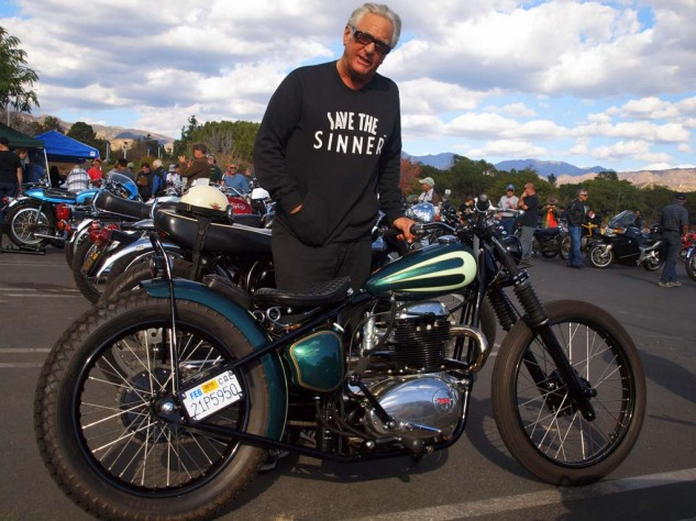 "This 1951 BSA custom is one of two roadsters brought to the rally by realty TV ""Storage Wars"" celeb/wildman, Barry Weiss, an expert rider who often rides the whirlwind."
