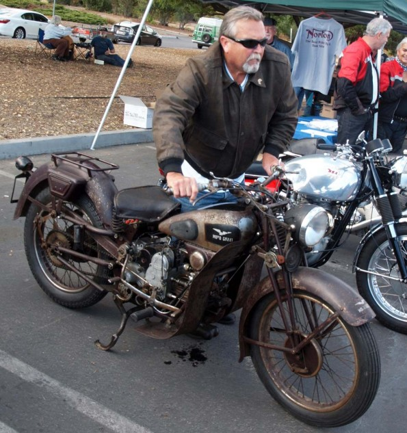This 1936 Moto Guzzi MTS owned by Greg McBride was about as original and unrestored as you could get and still running. Unfortunately, the British-themed rally had no Italian category, but it was still cool to see… and hear. Nearby is glimpsed David Hills' BSA Gold Star Custom that took Best British Other award.