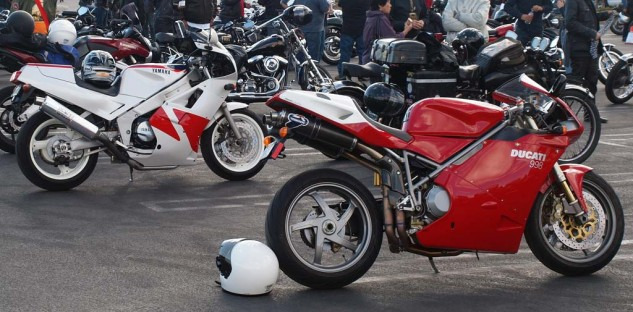 And, yes, there were Ducatis. And plenty of Japanese classics, and Harleys as well. Yes, we can all live together!