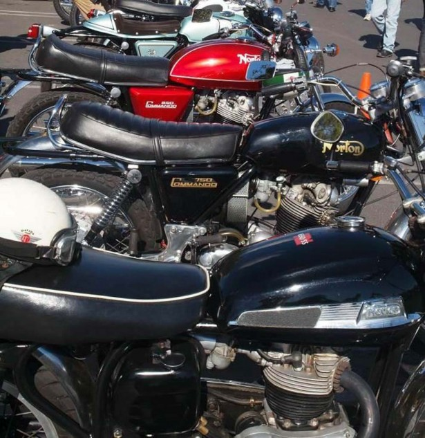 Lineup of Nortons includes the red 1974 850 Interstate judged Best Norton.