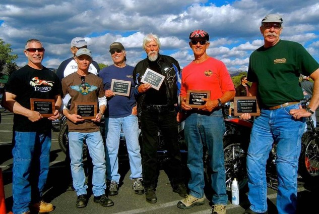 2014 Hansen Dam Show Winners (photo: Tom Haigh): (from left to right) Best Triumph: 1968 TR6R – Craig Fennel Best Custom: 1965 Triumph Street Tracker – Ed Cornell Best Norton: 1974 Interstate – Chuck Smoot Best British Other: BSA Gold Star Custom – David Hill Best BSA: 1967 Spitfire – Brian Person Best of Show: 1961 Triton (1972 frame) – Jeff Rogers
