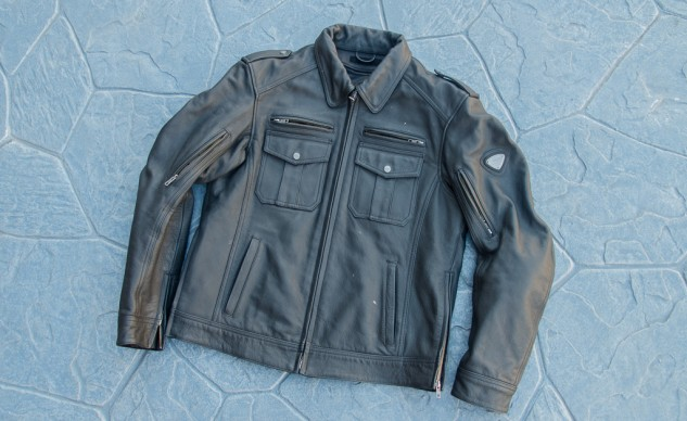 The Triumph Patrol Jacket with its black leather motor-cop styling is timeless and cool. Pre-curved sleeves and expansion panels under the arms add to riding comfort.