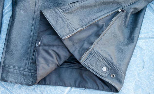 The jacket's waist has size adjustment options for both looser and snugger.