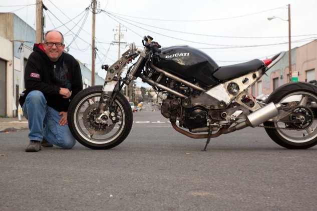 Julian Farnam's 750 Ducati Monster has a girder front end inspired by an English boutique bike, the Ariel Ace. Motor and wheels were acquired through barter. Julian's bike won the 'Cleverest' award.