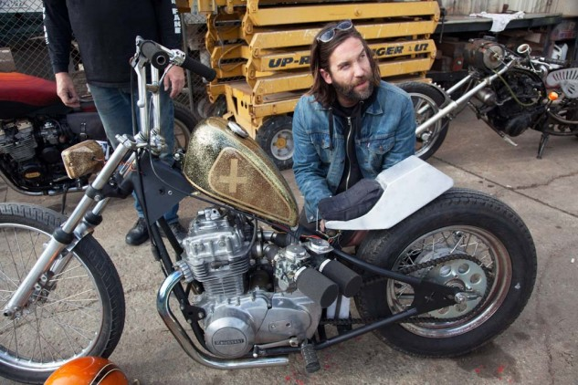"Duff Ryan, who lives a few blocks away, participated in the Challenge for the first time. A '78 KZ400 he bought for $200 some years ago, a Sportster tank and Mercedes taillight make his bike ""a little bit of everything."" Two awards will come his way: Prettiest and Coolest."