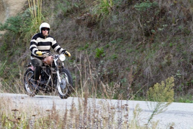 Poll in the lead on his '78 Honda CB 400 Hawk, on its fourth Dirtbag run.