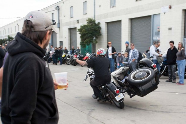 Back at Quesada Street, Guido Brenner entertains the crowd by 'flying the chair' as they're waiting for the Dirtbag riders to arrive.