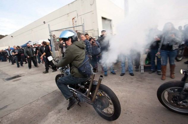 Jason Lisica smokes the crowd at will with baby-oil-injected into the carbs of his '75 CB360.