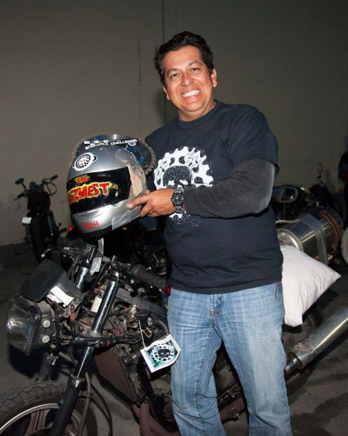 Alfredo Gonzalez celebrates his 'Sketchiest' award. We hope he remembers to return the seat to his motel.
