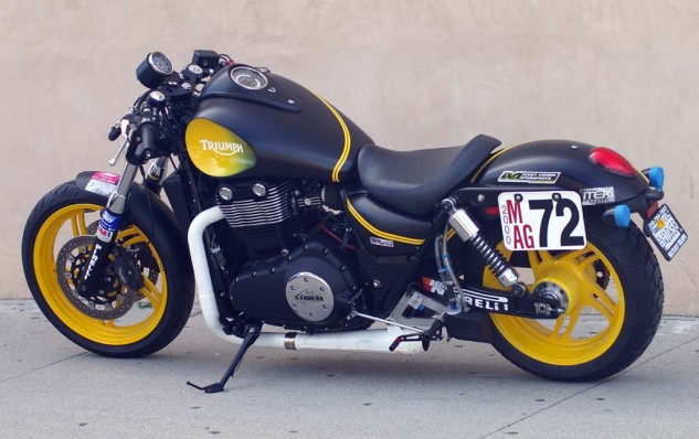 Looking like solid muscle, SBT's dramatically painted 1700cc Triumph Thunderbird-based Bonneville Salt Flats record challenger produces 130 hp. At its last run, it was just 4 mph shy of the world record and preparing to go for it again.