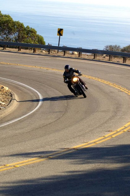 A curvy road, a dialed-in Triumph and golden SoCal sunlight. What more do you need?