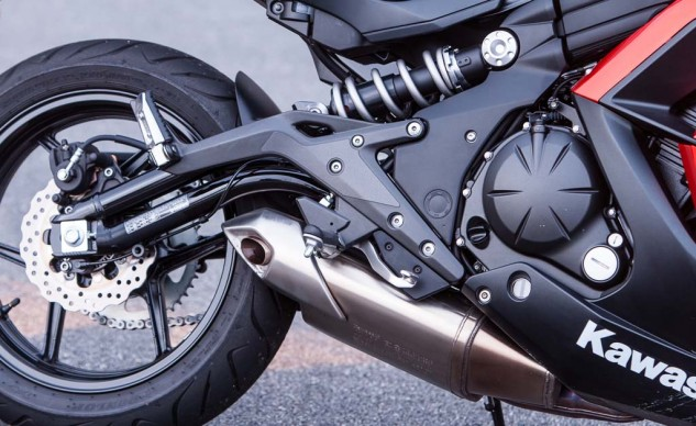 The Kawasaki's 649cc Twin more than holds its own against the four-cylinder competition. Its torque figure is tops of the bunch, and when the Twin starts singing, she lets out a pleasing exhaust note. The steel-tube swingarm design is a nice touch.