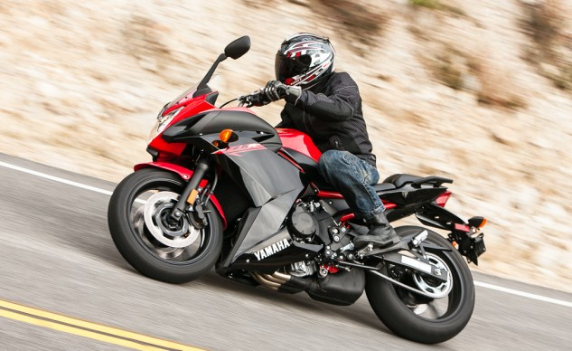 Nicely positioned bars and a 160-series rear tire help earn the FZ6R our praise for its agility in this trio. However, from this angle, that bulbous underslung exhaust is a real eyesore.