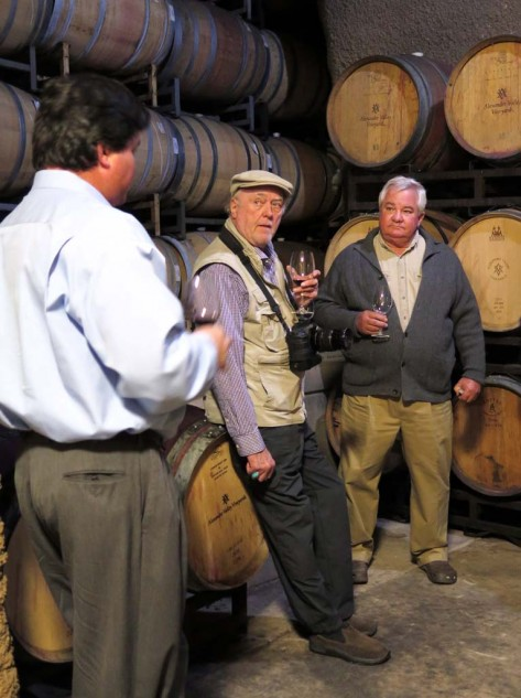 Hank Wetzel (right) produced Alexander Valley's first wine for sale in 1975, his son Harry (left) also studied winemaking at UC Davis, and pulled some straight from the barrel for us to sample. Bob Willis, travel writer, tries to make it look like work. When I told him I'd like to be buried in there, he informed me John Paul Jones is interred in a brandy cask at the Naval Academy. Sounds believable.