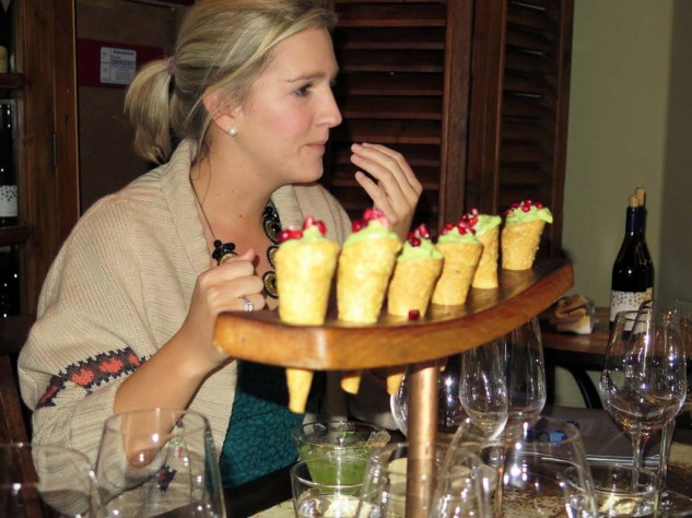 Meanwhile my tour guide, Kinley, was noshing on some guacamole cones with more pomegranate ...