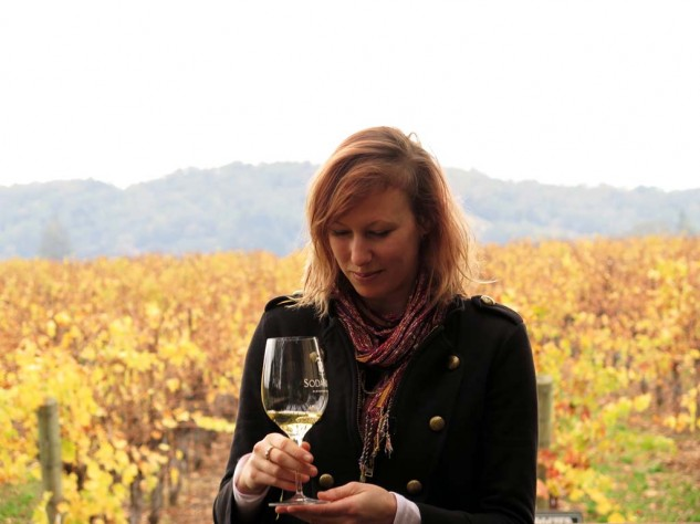 Verily, if I were 20 years younger, taller, better-looking, more intelligent and sophisticated, I would find a way to be rejected by Victoria Wilson. The Sauvignon Blanc she's tasting was grown on the hillside behind her, and she knows every how and why along the way.