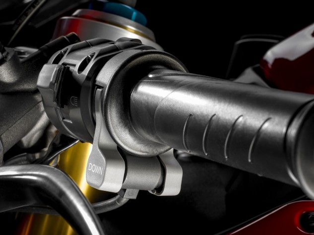 Toggles on the left switchgrip, similar to that seen on the Aprilia RSV4, allow the rider to adjust DTC, DWC and EBC quickly and easily.