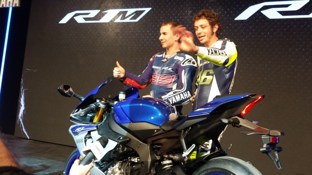 Rossi and Lorenzo at EICMA R1 Unveiling