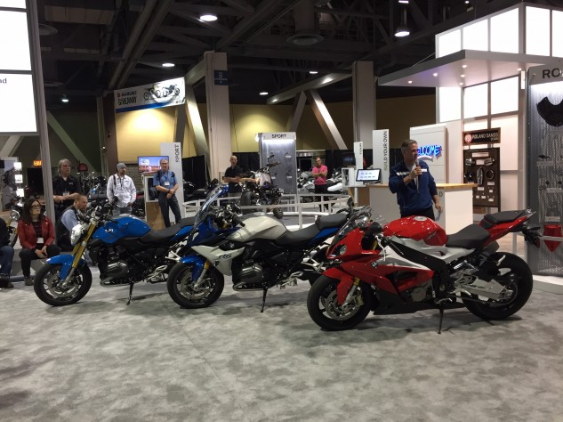 Add in the S1000XR and F800R to the R1200R, R1200RS and S1000RR seen here, and BMW's new 2015 bikes are a formidable force.