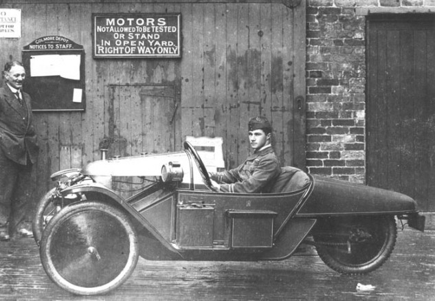 "Albert Ball with his Morgan ""Grand Prix"" Cyclecar."