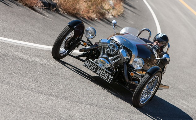 """Nothing but analog here. """"No power steering, no power brakes, skinny front tires and technologically ancient engine architecture means the Morgan is basic and elemental,"""" says Associate Editor Troy Siahaan."""