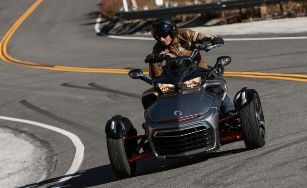 With a saddle, handlebars, twistgrip throttle, foot shifter, and hand-operated clutch lever, look no further than Can-Am's Spyder F3 as the vehicle here most-closely affiliated to true motorcycle operation.