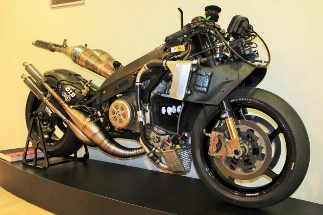 This was Carlos Checa's YZR500 from 2001, the final iteration of Yamaha's two-stroke GP bikes before transitioning to the four-stroke M1 in 2002.