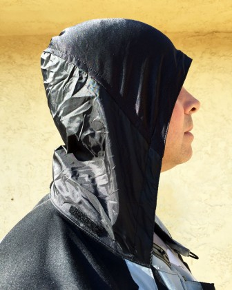 The back and lower half of the roll-up hood in the Expedition suit is waterproof and keeps rain from trickling down the back of your neck. It's also helpful in keeping you warm in very cold temperatures.