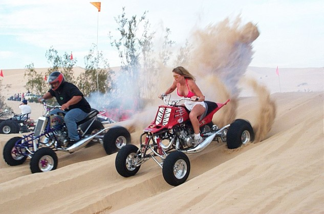 Truly, this scene from Glamis is about as all-American as it gets, but the his 'n hers Banshees are another ingenious product from our friends at Yamaha.