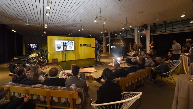 Instead of a stuffy conference room, the Ducati Scrambler was presented poolside in the swanky digs of the Ace Hotel in Palm Springs, California. Here, Scrambler Brand Manager, Mario Alvisi, explains some inspirations for the Scrambler's design.