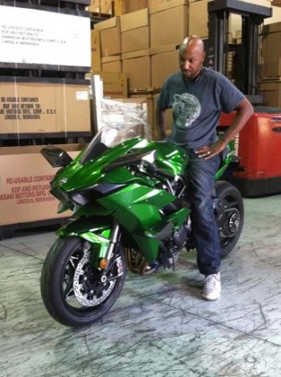 """Gadson's H2 was shipped through Kawasaki's American headquarters in California, then routed to Atlanta. """"I had to send (Kawasaki Motor Corp.) pictures of the motorcycle once I took it out of the crate so they could see what it looks like. This bike was such a big secret that nobody (at KMC) got to see this bike!"""""""