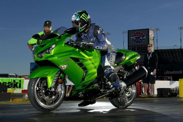 Rickey Gadson, a Kawi-sponsored rider for nearly 20 years, observes Duke launching the 2012 ZX-14R.
