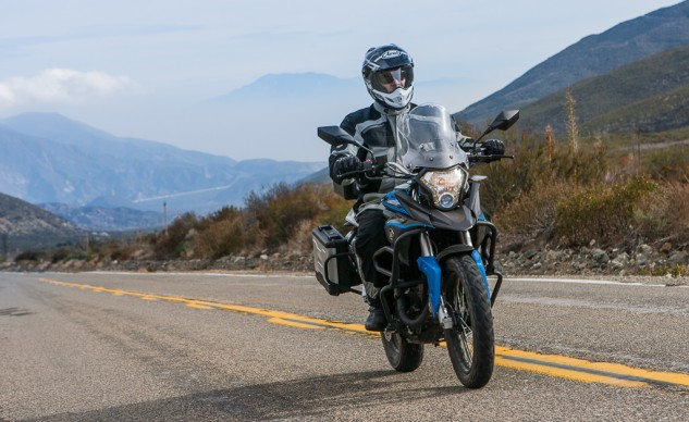 Wind protection is surprisingly good. No significant head buffeting even with the billed Arai helmet. It's a short reach to the handlebars, but the rider triangle is dimensionally appropriate for a variety of different-sized operators.