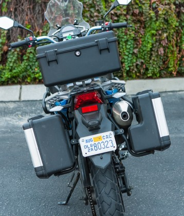For $3,995 the Cyclone RX-3 comes exactly as pictured including luggage and crash guards. The lockable hard bags don't hold much and don't have a quick-release function, but it's better than nothing. Missing are handlebar brush guards, included are passenger grab handles.